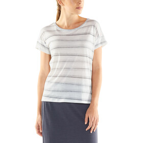 Icebreaker Via SS Scoop Shirt Women enamel heather/panther/scratch stripe